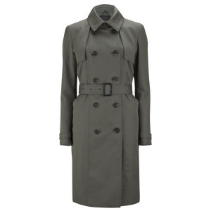 Knutsford Women's Mid Length Cotton Trench Coat with Signature Lining - Dark Khaki