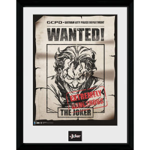 DC Comics Batman Comic Joker Wanted - Framed Photographic - 16 x 12inch