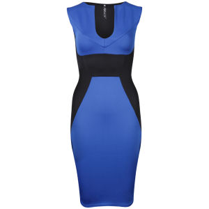 Influence Women's Bodycon Panel Midi Dress - Black/Cobalt