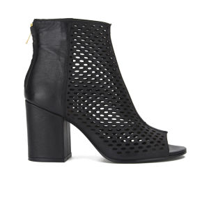 Ash Women's Fancy Bis Peep Toe Leather Heeled Ankle Boots - Black