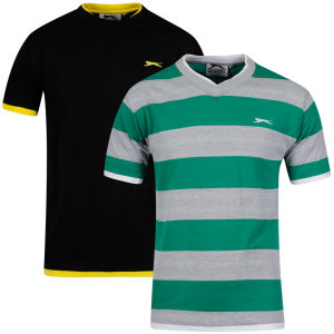Slazenger Men's 2-Pack T-Shirt - Black/Green