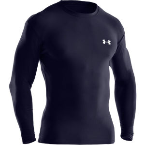 Under Armour Men's Coldgear Crew Compression II Long Sleeve Top - Navy/White