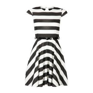 Club L Women's Cap Sleeve Striped Belted Skater Dress - Black/White
