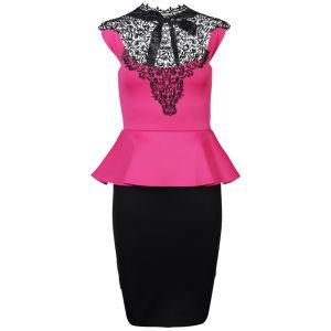 Influence Women's Peplum Crochet Neck Midi Dress - Pink/Black