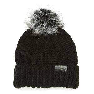 Urbancode Faux Fur Pom Pom Beanie Hat - Black