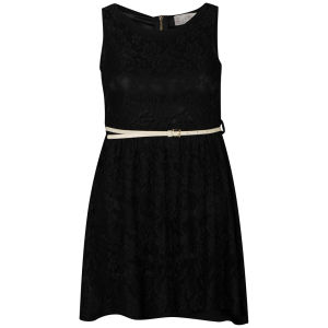 Nova Women's Lace Belted Skater Dress - Black