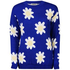 Women's Daisy Knit Long Sleeve Jumper - Blue