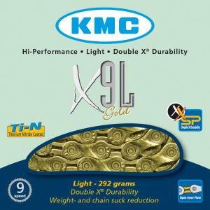 KMC X9 Light Chain - 116 Links - Gold