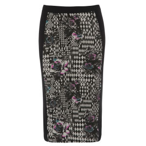Damned Delux Women's Printed Co-Ordinate Pencil Skirt - Black