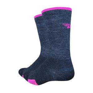 DeFeet Cyclismo Wool 5 Inch Cuff Socks - Charcol Black/Pink
