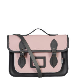 Zatchels 13 Inch Harmony Leather Satchel with Handle - Pink/Graphite