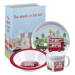 Little Rhymes Wheels on the Bus 3 Piece Melamine Breakfast Set