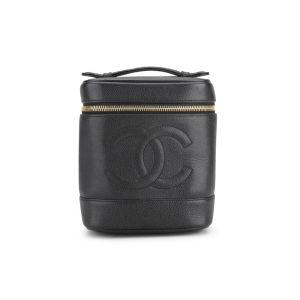 Chanel Vintage Black Caviar Leather Vanity Case Bag - Black