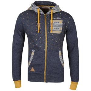 Rock and Revival Vulcun Zip Through Hooded Sweatshirt - Navy Marl