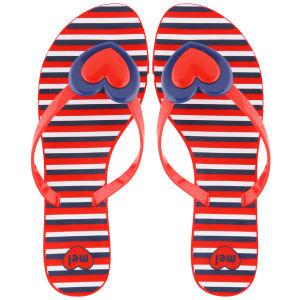 Mel Women's Honey Heart Flip Flops - Red