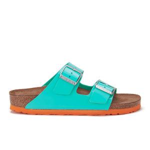 Birkenstock Women's Arizona Slim Fit Double Strap Patent Contrast Sole Sandals - Ocean Green