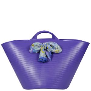 Lilifi Medium Beach Bucket Bag with Unique Vintage Scarf- Purple