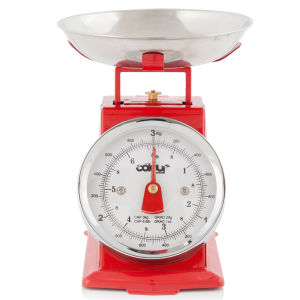 Cook In Colour 3kg Mini Traditional Kitchen Scales - Red