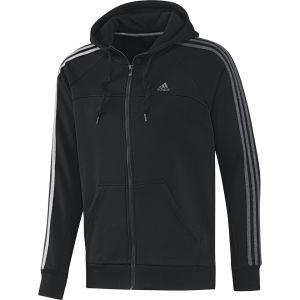 adidas Men's Essential 3 Stripe Full Zip Hoody - Black/Dark Grey