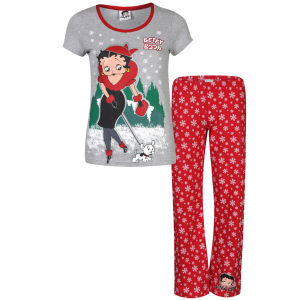 Betty Boop Women's Walking Dog Pyjama Set - Red & Grey Marl