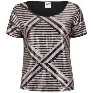 Vero Moda Women's Lima Short Sleeve Metallic Top - Gold