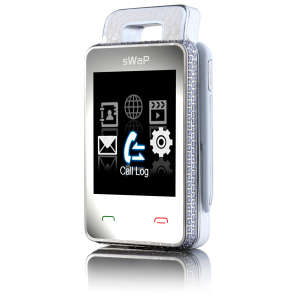 sWap Nova Crystal: World's Smallest Mobile Phone - White