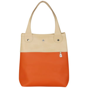 Brit-Stitch Leather Shopper - Warm sand/Rust