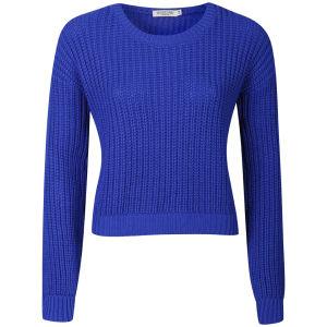 Moku Women's Crop Fisherman Knit Jumper - Cobalt Blue