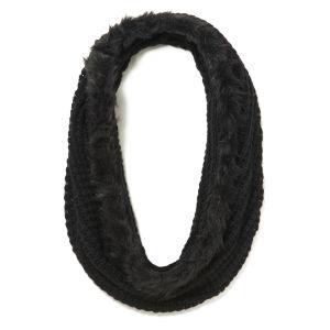 French Connection Libby Faux Fur Trim Snood - Black