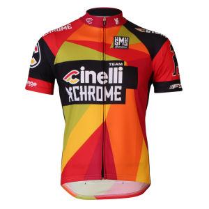 Santini Cinelli Chrome Short Sleeve Full Zip Jersey - Black
