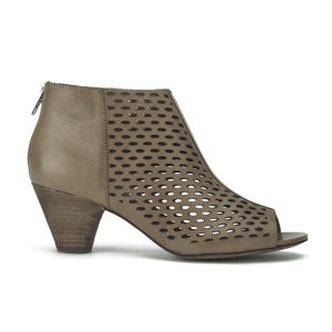 Ash Women's Imagine Peep Toe Leather Heeled Ankle Boots - Taupe