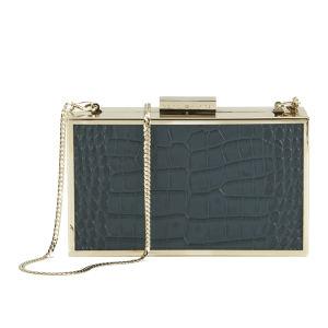 Tommy Hilfiger Women's Ivy Leather Croc Metal Edge Box Clutch - Black