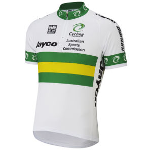Australian National Team Short Sleeve Jersey 14Cm Zip - White/Green