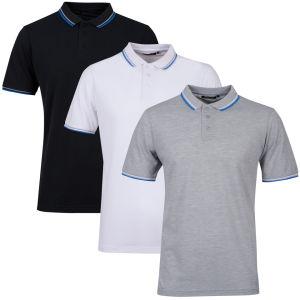 Brave Soul Men's 3-Pack Tip Polo - Light Grey Marl/White/Black