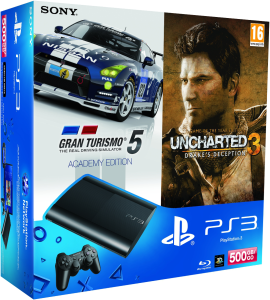 PS3: New Sony PlayStation 3 Slim Console (500 GB) - Black - Includes GT 5: Academy Edition, Uncharted 3: Game Of The Year Edition