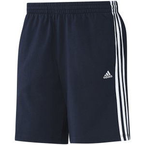 adidas Men's Essential 3 Stripe Shorts - Navy/White