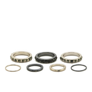 Kardashian Kollection 7 Piece Clean Ring Stack Midi Set - Gold