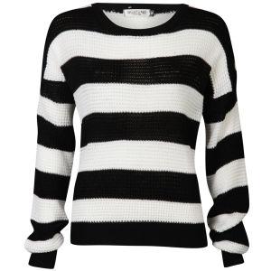 Moku Women's Monochrome Stripe Jumper - Black/White