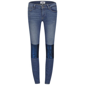 Paige Women's Verdugo Mid Rise Nico Super Skinny Jeans with Knee Patch - Light Blue