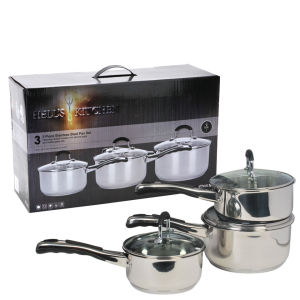 Hell's Kitchen Luna 3pc Stainless Steel Pan Set