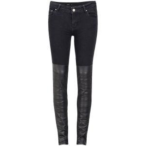 Avelon Women's Neon Denim Mid Rise Skinny Jeans - Black Patch