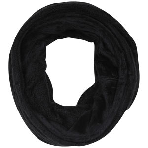 Women's Cable Knit Fur Trim Snood - Black