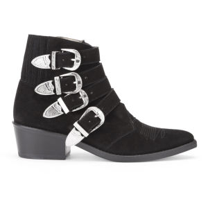 Toga Pulla Women's Buckle Side Suede Heeled Ankle Boots - Black