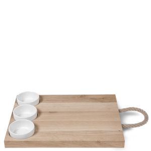 Garden Trading Tapas Board in Beech with 3 Ceramic Pots