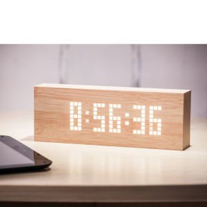 Gingko Message Click Clock - Beech