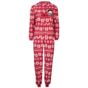 Betty Boop Women's Argyle Fleece Onesie - Red
