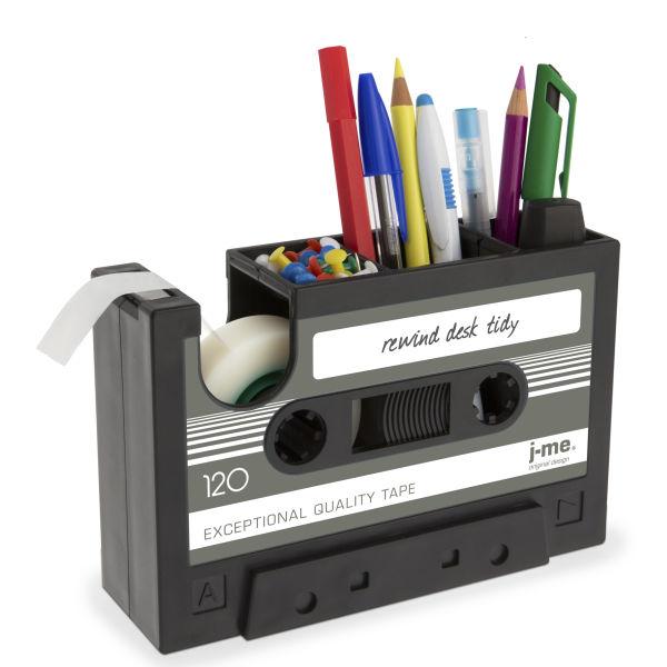 Rewind Desk Tidy Black With Dark Grey Label Traditional