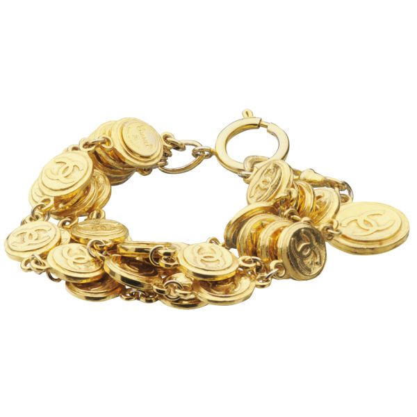 Susan Caplan Vintage Chanel Gilt Metal Multi 'CC' Coins Bracelet