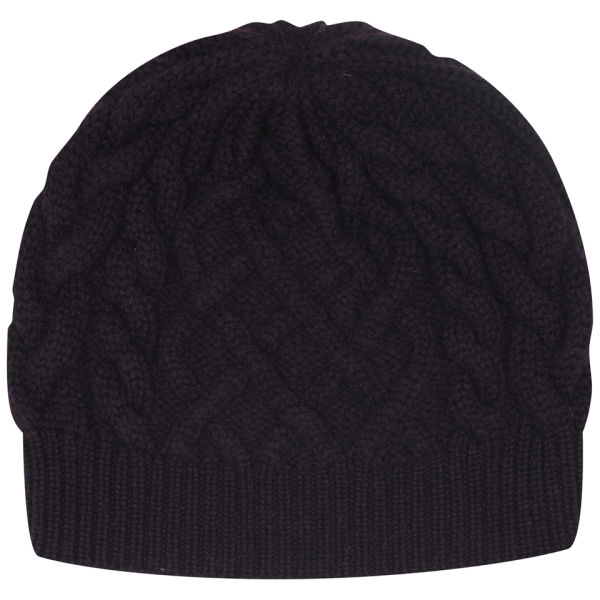 Johnstons of Elgin Cable Knit Cashmere Beanie Hat - Plum