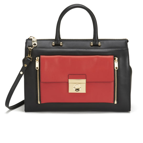 MILLY Sienna Collection 2 In 1 Leather Tote Bag - Black/Red